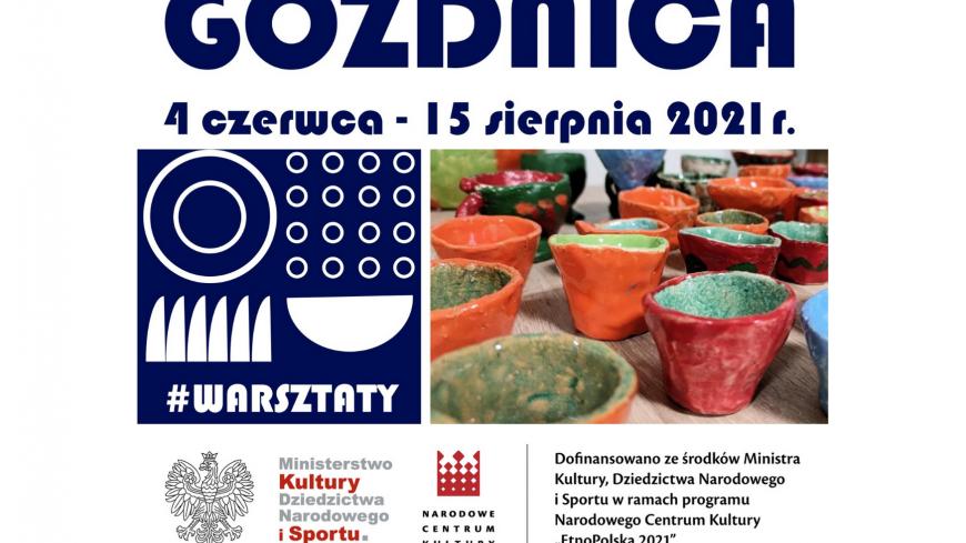 Grafika przedstawiająca warsztaty ceramiczne oraz informację o dofinansowaniu projektu Ceramika - nasze dziedzictwo ze środków MKDiS